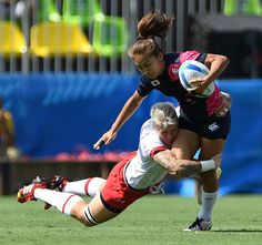 Canada's Jen Kish tackles Marie Yamaguchi of Japan during women's sevens rugby action at the 2016 Olympic Games in Rio de Janeiro, Brazil on Saturday, Aug. 6, 2016. THE CANADIAN PRESS/Sean Kilpatrick