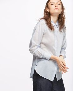 Made from the softest cotton and silk, this voile shirt features pinstripes. Lightweight and cut for a relaxed fit, it has a concealed button placket and button cuffs. Pair with your favourite jeans.
