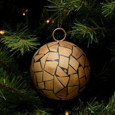 "Tori Home Brown Humble Holiday Wood Mosaic Christmas Ball Ornament 4"" (100mm)"