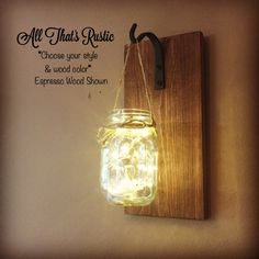 Single Mason Jar Sconce Lighted Mason Jar Sconce by AllThatsRustic