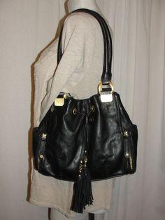 PELLE STUDIO Designer Black Leather Satchel Shoulder Handbag Wilson Leather #PelleStudioWilsonLeather #ShoulderBag