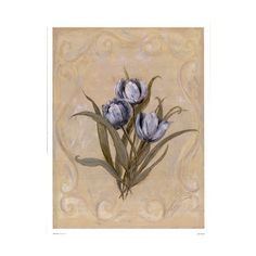 Floral Botanical Flowers Tulips Blue Tulips ❤ liked on Polyvore