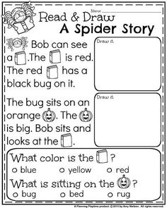 October Kindergarten Worksheets - Reading Comprehension. Free Kindergarten Worksheets, Kindergarten Lessons, Kindergarten Reading, Toddler Worksheets, Kindergarten Crafts, Nursery Worksheets, Free Preschool, Math Lessons, Early Education