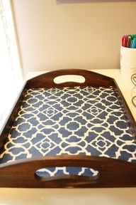 tray + mod podge + scrapbook paper - so looking to spruce up my ottoman tray with some cool pattern