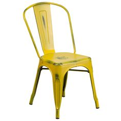 Flash Furniture Distressed Yellow Metal Chair [ET-3534-YL-GG]