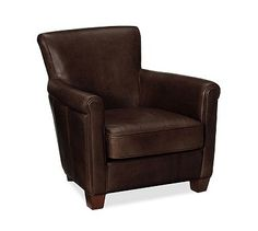 Irving Leather Armchair #potterybarn. Leather upholstery color: Coffee