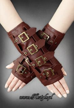 steampunk accessories | Brown steampunk arm warmers with buckles | ACCESSORIES \ Gloves ...