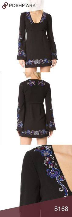 [FREE PEOPLE] Mini Dress **FREE PEOPLE** Mini dress featuring bell sleeves, a flattering U neckline, empire waist and royal blue, purple, and silver embroidery details.  🌵Make an Offer🌵 Free People Dresses Mini