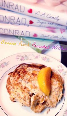70 Calorie Four Whole Ingredient Banana Peach Pancakes! -No Dairy -No Flour -No Added Sugar -Rich With Antioxidants -High Potassium -High Fiber -High Protein -Omega-3 -No Butter -Gluten Free #laurenconrad