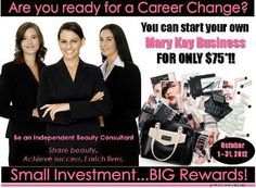 75 dollar decision could change your life! Msg me today about getting started. www.marykay.com/atuller