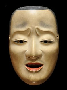 """Noh Mask - Chujo - : This mask takes its name from the early Heian poet, Ariwara no Narihira. He was a man born of nobility and a lieutenant-general (Chujo) of the fifth rank. He was also called """"one of the six famous poets"""" in that period. This mask was modeled on him. It is used for the noblemen of Heike clan such as """"Kiyotsune"""" and """"Tadanori"""" in Noh plays"""