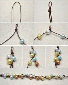 This DIY jewelry tutorial is going to show you how to make four-colored floating pearl necklace with simple knotting techniques. by diy jewelry inspiration Leather Jewelry, Wire Jewelry, Jewelry Crafts, Beaded Jewelry, Jewelery, Beaded Bracelets, Jewellery Diy, Initial Jewelry, Jewellery Shops