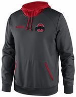 Ohio State Nike Anthracite Pro Performance Hooded Pullover Sweatshirt