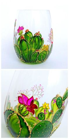 Cactus stemless wine glass Hand painted personalized wine glass Southwestern decor Succulent gift for Birthday Juice water glasses Glass Painting Patterns, Painting Glass Jars, Painted Glass Vases, Glass Painting Designs, Painted Wine Bottles, Hand Painted Wine Glasses, Bottle Painting, Bottle Art, Glass Art