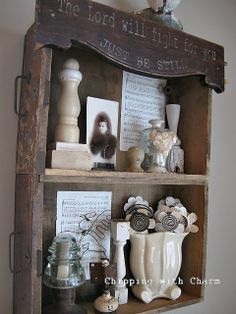 Old drawer shelves by Chipping with Charm featured on Funky Junk Interiors. Love the old drawers👍❤️ Funky Junk Interiors, Unique Shelves, Rustic Shelves, Furniture Makeover, Diy Furniture, Bookshelf Makeover Diy, Plywood Furniture, Furniture Design, Decoration Palette