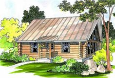 The Clarkridge home plan is a single story, cabin style house plan with 960 total living square feet. This cozy, naturally bright log cabin home plan is great as a vacation retreat or for a small family. Spacious vaulted great room is open to a large, well-equipped kitchen. This plan also features a single vaulted bedroom, plus a study with pull-down attic