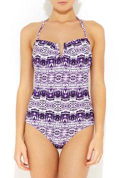 Purple & White Tribal Swimsuit