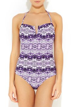 Purple & White Tribal Swimsuit