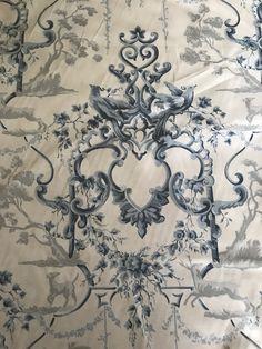 Marquee Blendworth Cotton Fabric - 5 Yards on Chairish.com Cotton Linen, Cotton Fabric, Biltmore Estate, Pattern Matching, Navy Fabric, Textile Fabrics, Fabric Design, Vintage World Maps, England