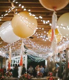 Balloons in wedding reception decor