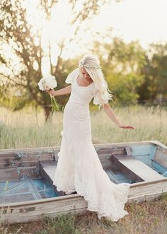 #wedding dress #gown #country side #boat #cute #fashion