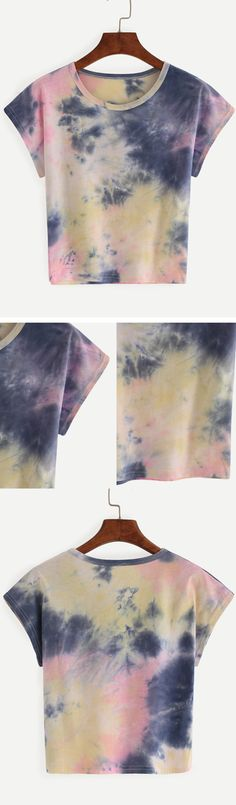 Color Block Tie-dye T-shirt