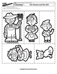 A fun game of placing the pieces around the room and finding the matching piece, while singing the song. FIND THIS WORKSHEET IN THE: NURSERY RHYME ACTIVITIES - 24 PACK @ $3.25 FUN PRESCHOOL SONGS - 21 PACK @ $2.75
