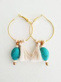 Ibiza Oorbellen, turquoise, ibiza earrings, gold plated hoops, tassel, fringe