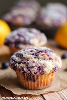 THE BEST BLUEBERRY SWIRLED MUFFINS with Lemon Sugar Topping