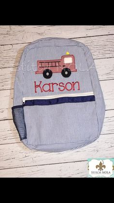Navy Seersucker Backpack with Firetruck by StitchNOLABoutique