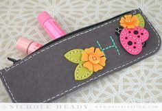 Monogramed Make-up Bag by Nichole Heady for Papertrey Ink (June 2014)