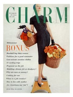 Charm Cover - July 1956  by Carmen Schiavone - Model wears a Nelly Don sheath dress, a Dachettes Natona wool jersey turban, a Accessocraft crystal bead necklace, Hanson Gloves, Hanes Seamless stockings and Deb Shoes