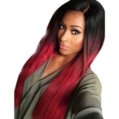 Tsnomore Black to Red Silky Long Straight Synthetic Wig ($34) ❤ liked on Polyvore featuring beauty products, haircare, hair styling tools and hair