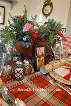 Blue Ribbon Kitchen Christmas and holiday table ideas. Santa and sleigh for Table centerpiece.