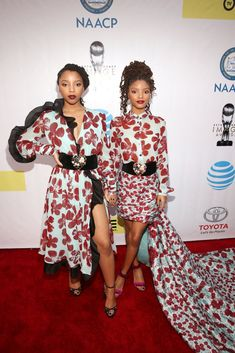 Pictured: Halle Bailey and Chloe Bailey Image Source: Getty / Jesse Grant click now for more. Beautiful Young Lady, My Black Is Beautiful, Black Girls Rock, Black Girl Magic, Black Girls Hairstyles, Braided Hairstyles, Celebrity Dresses, Celebrity Style, Chloe Halle