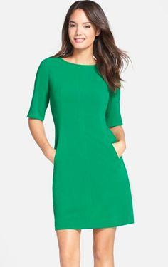 Tahari - kelly green 3/4 sleeve shift dress