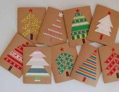 Simple Christmas Cards, Christmas Card Crafts, Handmade Christmas Gifts, Holiday Crafts, Christmas Wrapping, Homemade Christmas, Christmas Recipes, Halloween Crafts, Tarjetas Diy