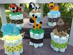 baby shower arrangements for a boy zoo theme | Jungle Safari Theme Mini Diaper Cakes Baby Shower Centerpiece