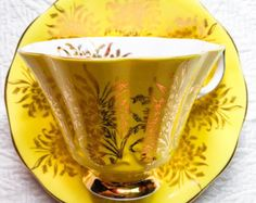 RESERVED FOR JOSEPHUS-Brilliant Buttercup Yellow Queen Anne 1950's Fluted Teacup and Saucer - Edit Listing - Etsy