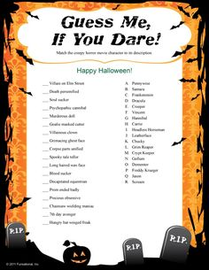 Printable Halloween Games for Halloween Party Fun! Halloween party games include riddles, bingo, match games, word finds and Halloween trivia for kids and adults. Buy online and print at home! Halloween Tags, Halloween Snacks, Happy Halloween, Halloween Games Adults, Halloween Office, Halloween Activities For Kids, Adult Halloween Party, Holidays Halloween, Halloween Crafts