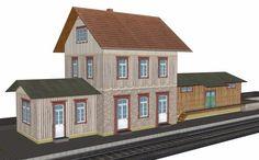 PAPERMAU: Dettingen An Der Erms Train Station Paper Model In HO Scaleby Godwin T. Petermann