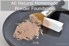 Homemade powder foundation recipe. All you need are: (1) arrowroot powder, (2) cocoa powder, (3) turmeric powder, and (4) ground cinnamon. For SPF protection, add zinc oxide.