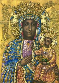 Regina Poloniae The miraculous icon of Our Lady of Czestochowa, Queen of Poland. Is this a black madonna? Religious Pictures, Religious Icons, Religious Art, Madonna Art, Madonna And Child, Divine Mother, Mother Mary, Our Lady Of Czestochowa, Black Jesus