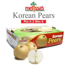 #MelissasProduce January 2014 #Giveaway! All you have to do is FOLLOW us and RE PIN and you could WIN! Not just one ...but a whole box of delicious, crisp Korean Pears!  Also, in stores now!  =)