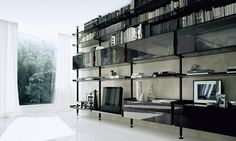 bookcase Zenit, structure in black aluminium, shelves and showcases in grey transparent glass, drawer units with glossy black lacquered glas...