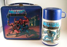 Antique He-Man Masters of the Universe Lunch Box & Thermos (Vintage 1983 He Man Aladdin & Mattel Metal Lunchbox, Skeletor)