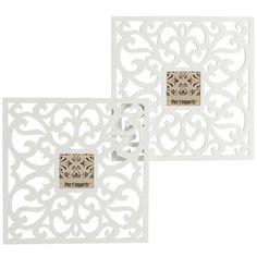"Pier 1 :: White Wall Frame - Set of 2  :: 15.75""W x 0.50""D x 15.75""H :: Each holds a 4 x 4"" photo   * on staircase wall in first floor hallway ** would give some details to an otherwise pretty plain space w/o looking totally cluttered ** maybe 2 sets for a 2x2 square look *"