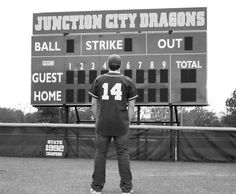 Baseball/senior pics Boys -- or do with the football score board for football players.