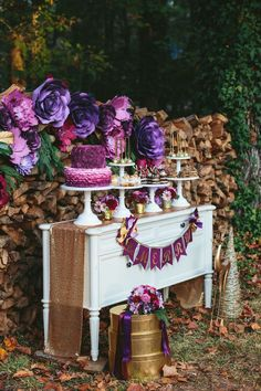Dessert spread from a Floral Woodsy Wonderland Party | Dessert Table on Kara's Party Ideas | KarasPartyIdeas.com (41)