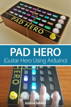 Pad Hero, an Arduino based Guitar Hero game, is played by hitting the button along the side when the light works its way down similar to Guitar Hero but just with your fingers and buttons. #Instructables #electronics #technology #Arduino #3Dprint Useful Arduino Projects, Arduino Class, Hit The Button, Hero Games, Light Works, Electronic Engineering, Fingers, 3d Printing, Guitar